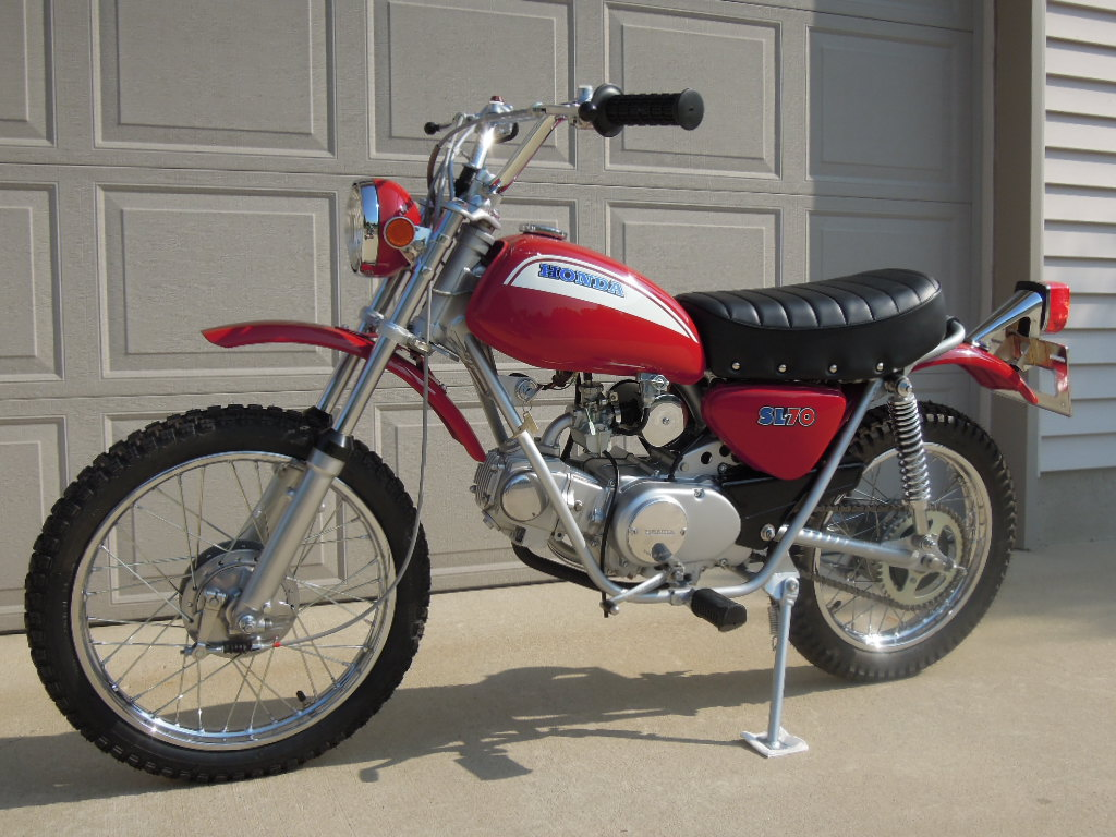 Honda Sl70 Project Complete Wright Way Restorations Motorcycle Bike Left Rear Quarter Front Qtr